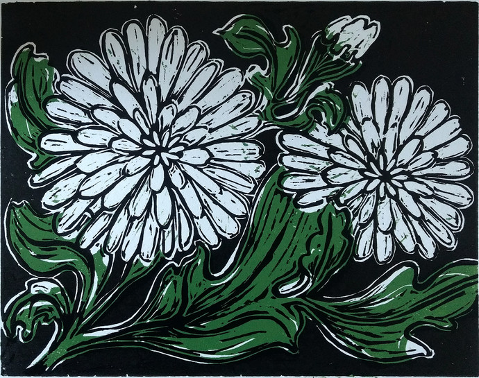 White Blooms by Rosy Singh, Expressionism Printmaking, Wood Cut on Paper, Aztec color