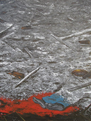 Ash Blanket cover on his own way by Naresh Suna, Expressionism Painting, Acrylic on Canvas, Boulder color