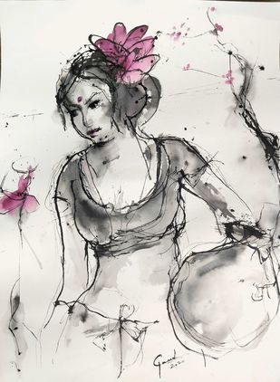 Indian Lady 75 by MADURAI GANESH, Illustration Painting, Ink on Paper, Masala color