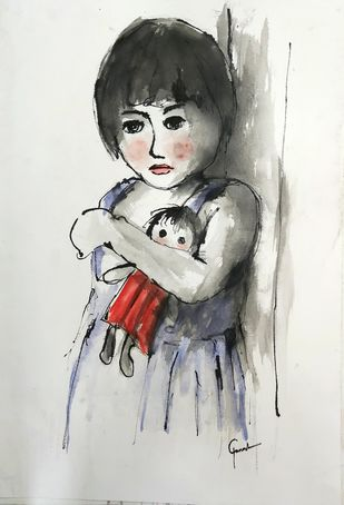 Indian child 1 by MADURAI GANESH, Illustration Drawing, Watercolor & Ink on Paper, Quill Gray color