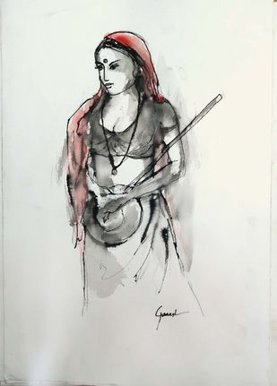 Indian Lady 48 by MADURAI GANESH, Illustration Drawing, Watercolor & Ink on Paper, Quill Gray color
