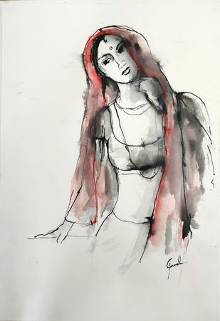 Indian Lady 49 by MADURAI GANESH, Illustration Drawing, Watercolor & Ink on Paper, Westar color