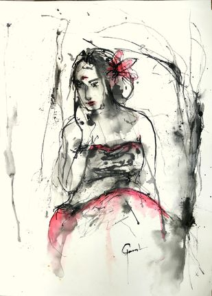 Indian Lady 50 by MADURAI GANESH, Illustration Drawing, Ink and brush on paper board, Merlin color