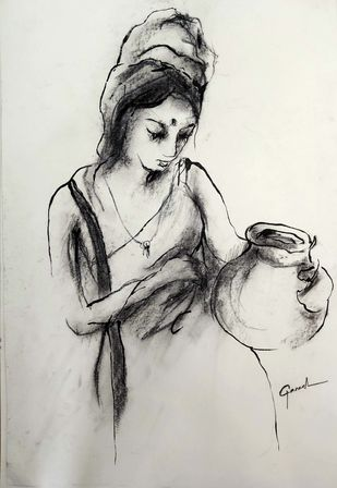 Indian Lady 51 by MADURAI GANESH, Illustration Drawing, Watercolor and charcoal on paper, Timberwolf color