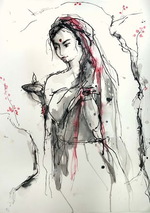 Indian Lady 53 by MADURAI GANESH, Illustration Drawing, Ink and brush on paper board, Cararra color