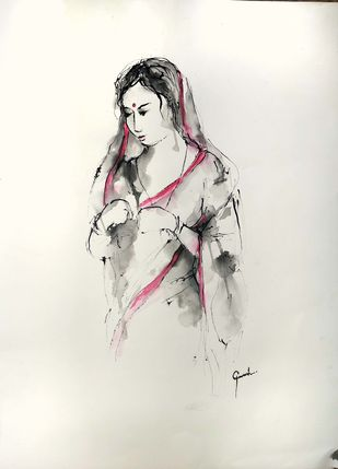 Indian Lady 54 by MADURAI GANESH, Illustration Drawing, Ink and brush on paper board, Satin Linen color