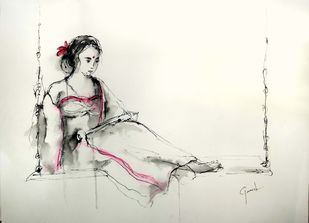 Indian Lady 55 by MADURAI GANESH, Illustration Drawing, Ink and brush on paper board, Satin Linen color