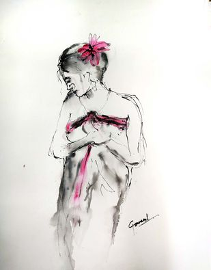 Indian Lady 57 by MADURAI GANESH, Illustration Drawing, Ink and brush on paper board, Cararra color