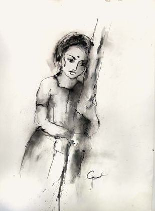 Indian Lady 58 by MADURAI GANESH, Illustration Drawing, Ink and brush on paper board, Pampas color