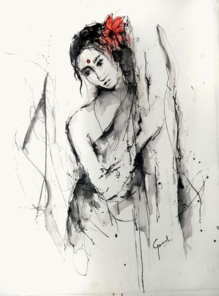 Indian Lady 64 by MADURAI GANESH, Illustration Drawing, Watercolor & Ink on Paper, Cararra color