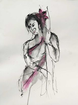 Indian Lady 79 by MADURAI GANESH, Illustration Drawing, Ink and brush on paper board, Westar color