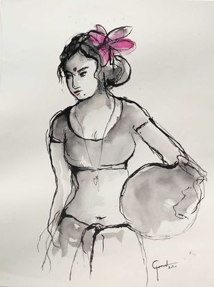 Indian Lady 77 by MADURAI GANESH, Illustration Drawing, Ink and brush on paper board, Westar color