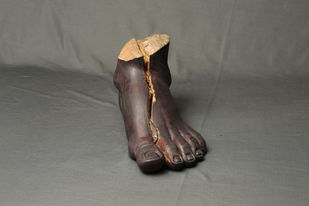 Broken Foot by Prabhakar Kamble, Conceptual Sculpture | 3D, Wood, Flint color
