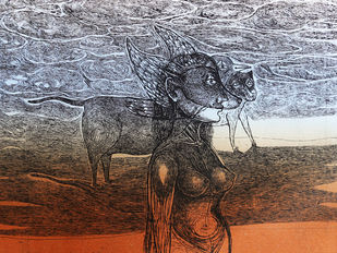 A Migrant – 3 by Tejswini Sonawane, Conceptual Printmaking, Etching on Paper,