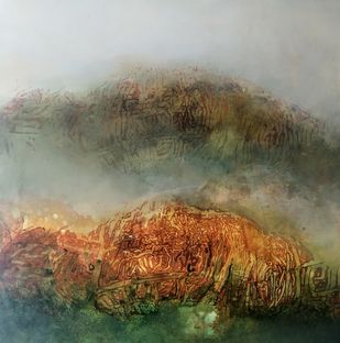 Vaqt by Archana Mishra , Abstract Painting, Acrylic on Canvas, Clay Creek color