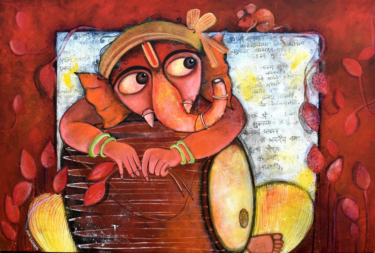 RUDVEDA by Sharmi Dey, Expressionism Painting, Acrylic on Canvas, Burnt Umber color