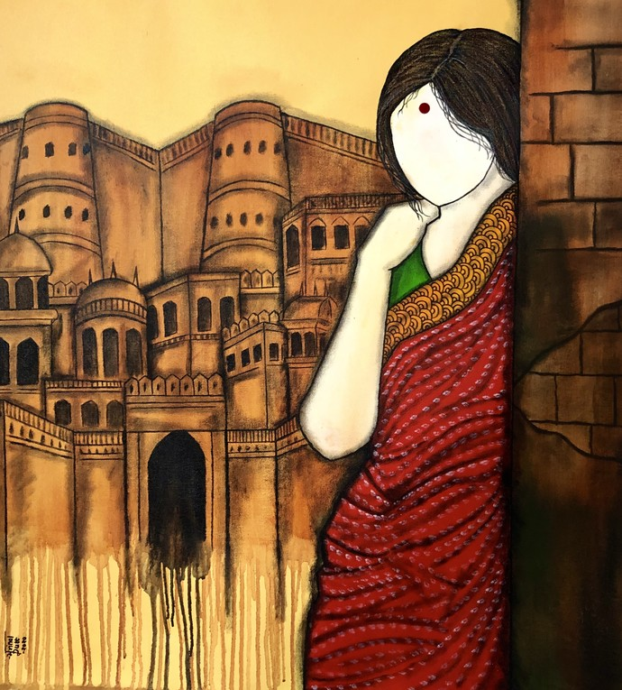 Dastaan by Mrinal Dutt, Expressionism Painting, Acrylic on Canvas, Eternity color