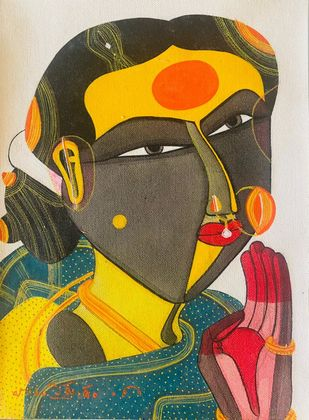 Woman 2 by Thota Vaikuntam, Expressionism Painting, Acrylic on Canvas, Merlin color