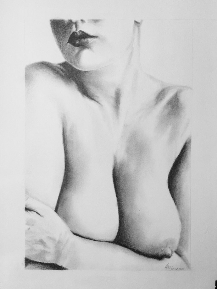 Bosom by Arijit Chakraborty, Illustration Drawing, Graphite on Paper, Alto color
