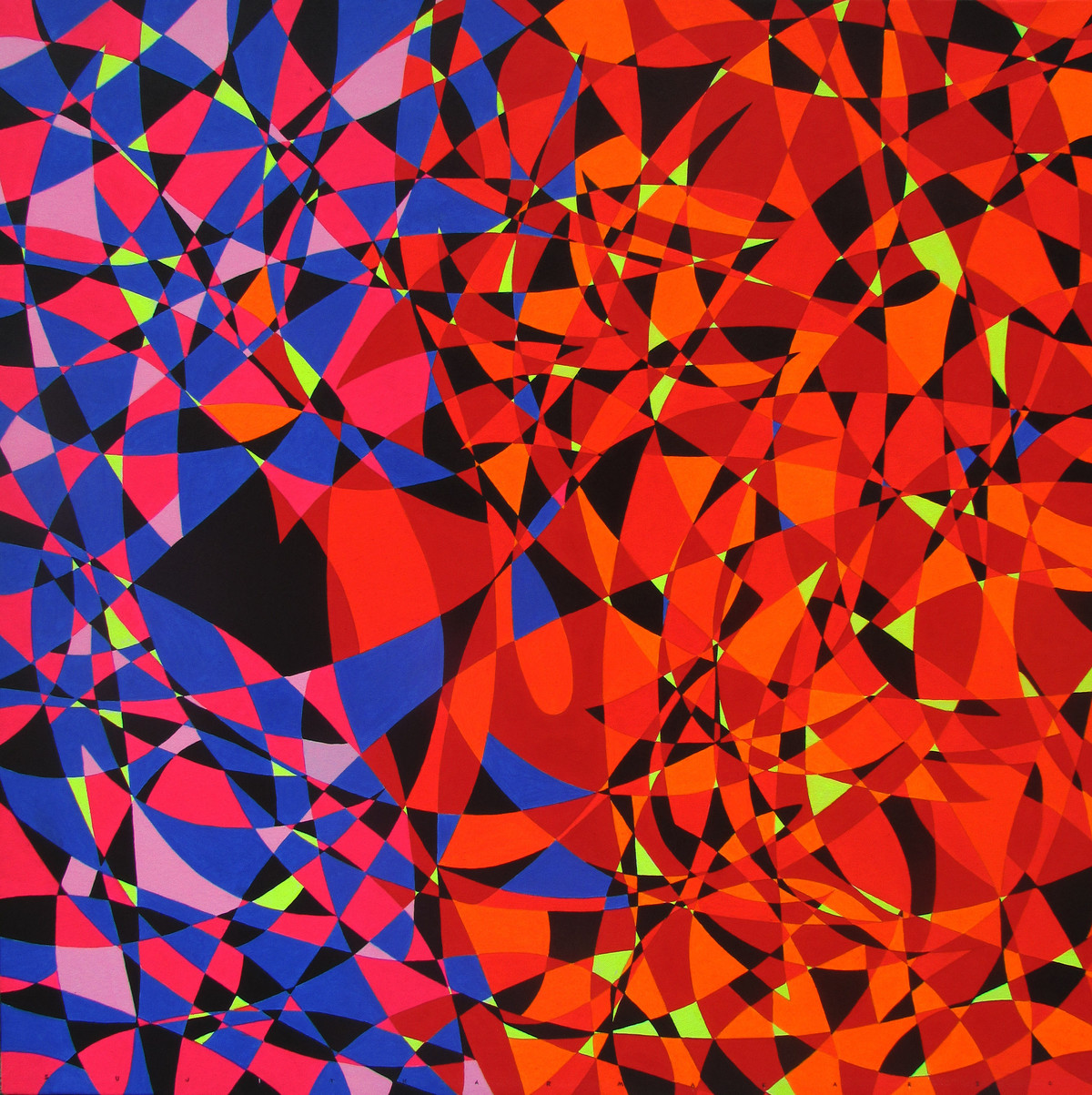 Untitled 5 by Sujit Karmakar, Cubism Painting, Acrylic on Canvas, Port Gore color