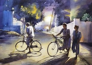 friends by Sunil Linus De, Impressionism Painting, Watercolor on Paper, Ship Gray color