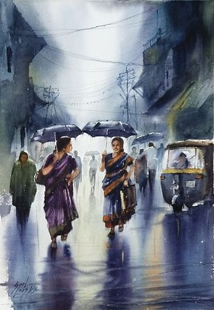 rainy days by Sunil Linus De, Impressionism Painting, Watercolor on Paper, River Bed color