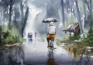 kerala monsoon by Sunil Linus De, Impressionism Painting, Watercolor on Paper, Rolling Stone color