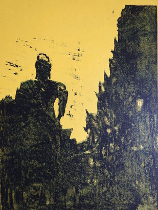 BUDHDH by KAJAL PANCHAL, Expressionism Printmaking, Watercolor on Paper, Shark color