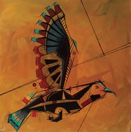 Geometric bird - 2 by Sanket Sagare, Expressionism Painting, Acrylic on Canvas, Paarl color