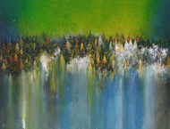 Temple Town by M Singh, Abstract Painting, Acrylic on Canvas, Axolotl color