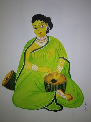 Kalighat Painting by Debdita Banerjee, Folk Painting, Natural colours on paper, Oslo Gray color