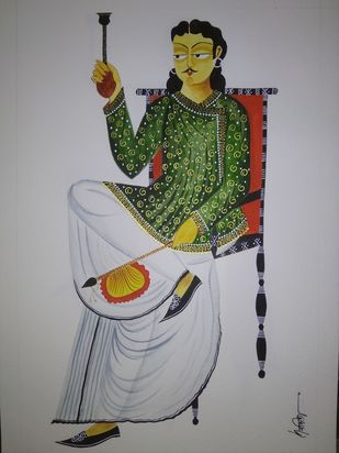 Babu With Hookah by Debdita Banerjee, Folk Painting, Natural colours on paper, Mountain Mist color