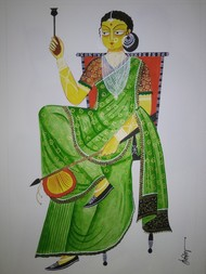 Kalighat Painting by Debdita Banerjee, Folk Painting, Natural colours on paper, Mantle color