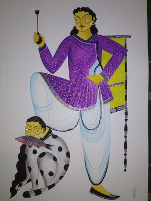 Kalighat Painting by Debdita Banerjee, Folk Painting, Natural colours on paper, Mountain Mist color