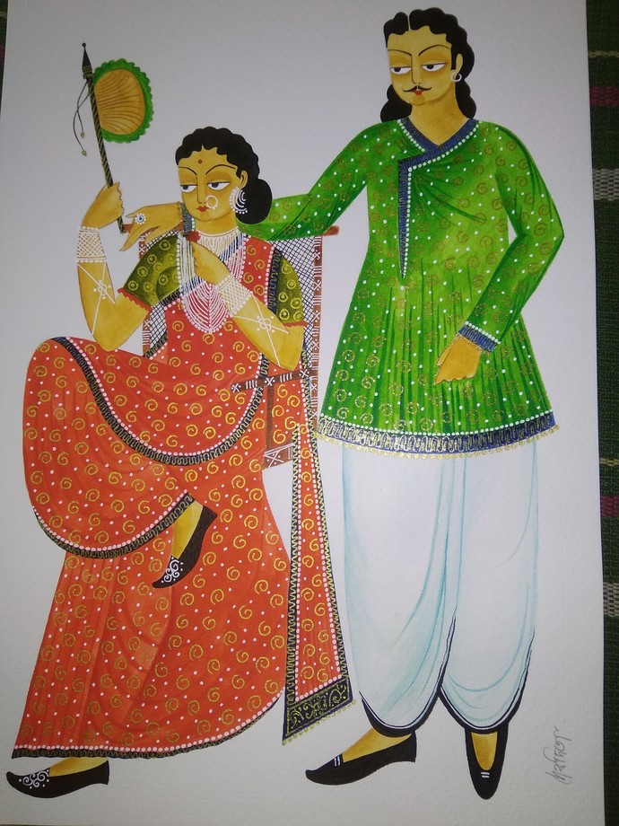 Kalighat Painting by Debdita Banerjee, Folk Painting, Natural colours on paper, Silver Chalice color