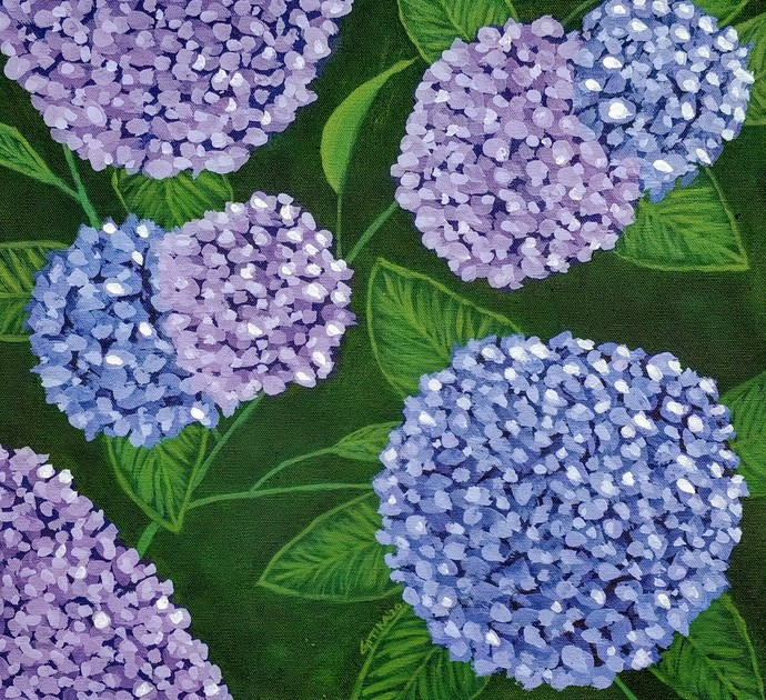 Hydrangea by Gitika Singh, Expressionism Painting, Acrylic on Canvas, Mineral Green color