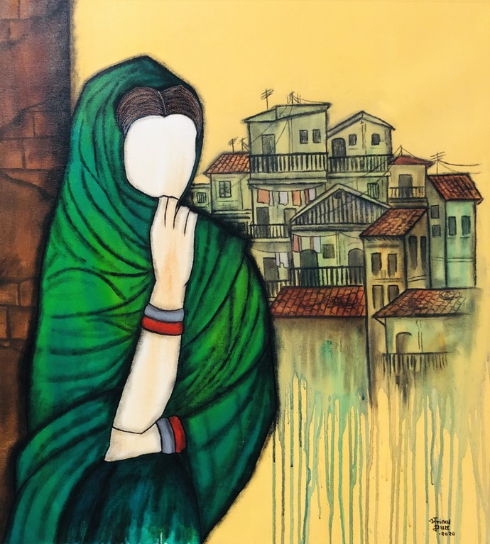 Harita by Mrinal Dutt, Expressionism Painting, Acrylic on Canvas, Green Pea color