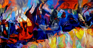 Colour of the Universe XXIII by Sumitava Maity, Abstract Painting, Oil on Canvas, Port Gore color