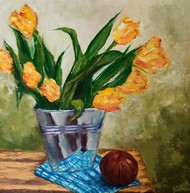 yellow by Ankita Chauhan, Expressionism Painting, Oil on Canvas, Clay Creek color