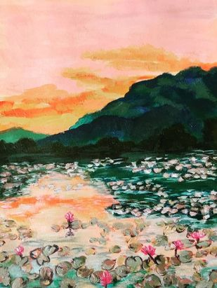 lily pond by Ankita Chauhan, Expressionism Painting, Acrylic on Paper, Cameo color