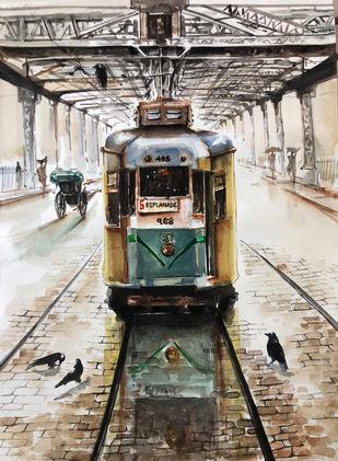 Tram on Howrah Bridge by Avanish Trivedi, Impressionism Painting, Watercolor on Paper, Dune color