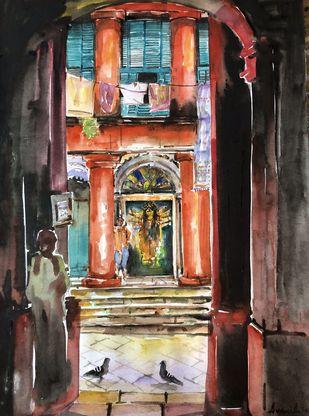 Durga Puja at Rajbari: Pujo 2020 by Avanish Trivedi, Impressionism Painting, Watercolor on Paper, Tan color