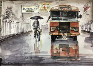 90s Calcutta : Boroline Cream by Avanish Trivedi, Impressionism Painting, Watercolor on Paper, Gray color