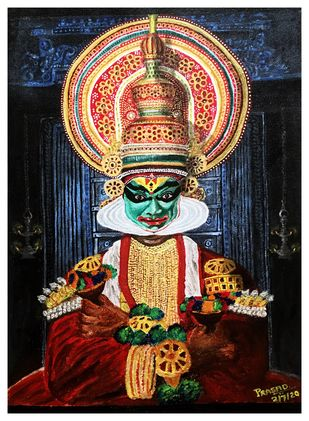 Kathakali by S.SHIVAPRASAD, Realism Painting, Acrylic on Canvas, Thunder color