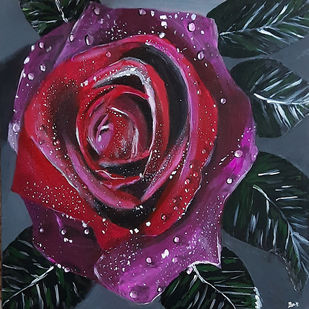 Red Rose by Tejal Bhagat, Expressionism Painting, Acrylic on Canvas, Thunder color