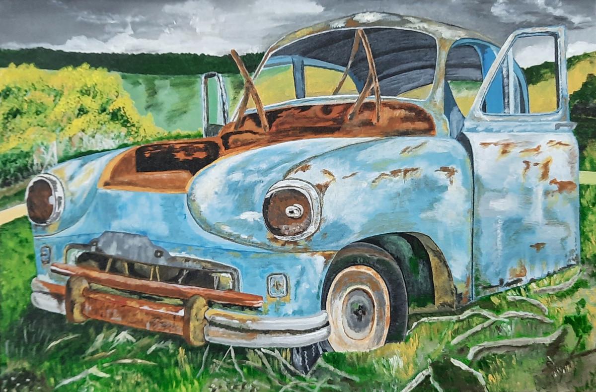Vintage Wrecked Car Digital Print by Tejal Bhagat,Expressionism