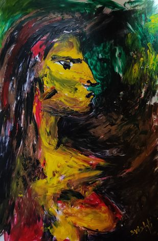 Untitled by Srishti Bansal, Expressionism Painting, Acrylic on Paper, Armadillo color