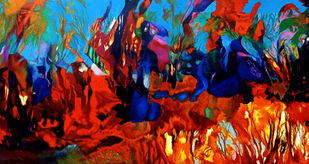 Colour of the Universe XXVI by Sumitava Maity, Abstract Painting, Oil on Canvas, Cocoa Brown color