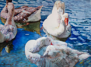 Ducks Digital Print by Uday Bhan,Realism