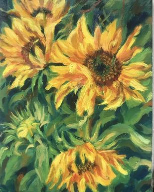 Sunflowers by Sujata Khanolkar, Expressionism Painting, Oil & Acrylic on Canvas, Tom Thumb color